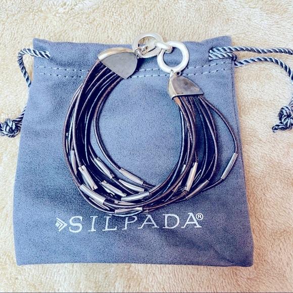 Authentic Silpada black leather silver bracelet